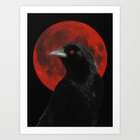 Crow And The Red Glow Mo… Art Print