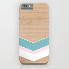 wooden geometric pink and blue Slim Case iPhone 6s