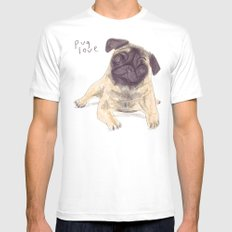 Pug Love Mens Fitted Tee White SMALL