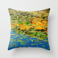Lilly Pond In The Style … Throw Pillow