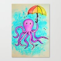 Octopus And Umbrella - W… Canvas Print