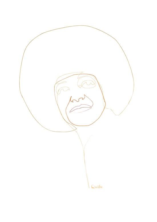 one line Angela Davis Art Print