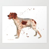 Brittany Spaniel, dog painting, Spaniel watercolor Art Print