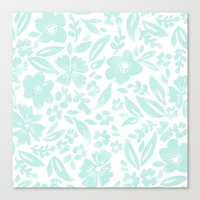 Stamp Floral Pattern Canvas Print
