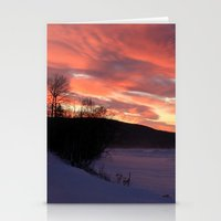 Wintry Sunset over the Porkies Stationery Cards