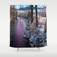 Quiet River In Winter Ti… Shower Curtain