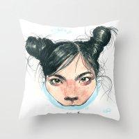 Bjørk in Milk Throw Pillow