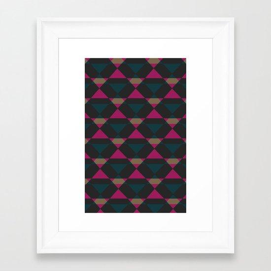 Retro Triangles - Blue & Pink Framed Art Print