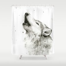 Wolf Howling Watercolor Wildlife Painting Shower Curtain