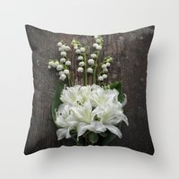 White Flowers on Rustic Table Throw Pillow