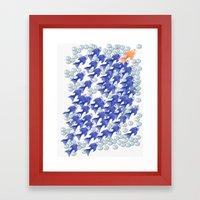100 fishes Framed Art Print
