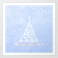 Blue Happy Holidays Chri… Art Print