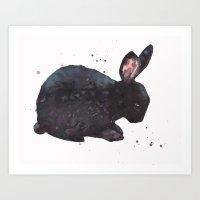 Bunny, Black Rabbit, Mag… Art Print