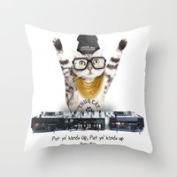 Thug Cat Throw Pillow