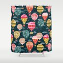 Hot Air Balloons - Retro, Vintage-inspired Print and Pattern by Andrea Lauren Shower Curtain