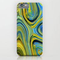 iPhone & iPod Case featuring Liquid Yellow And Blue by TDSWHITE
