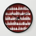 Bottles Red Wall Clock