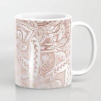 Chic hand drawn rose gold floral mandala pattern Mug