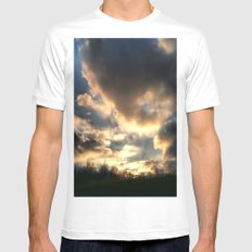 Clouds on Fire SMALL White Mens Fitted Tee