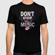 Don't Stop The Music Mens Fitted Tee Black SMALL