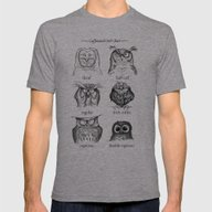 Caffeinated Owls Mens Fitted Tee Athletic Grey SMALL