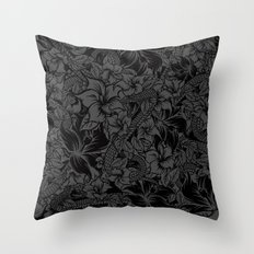 Snaky Fleur, Black and Grey Throw Pillow