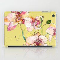 Pink Orchids in Yellow iPad Case