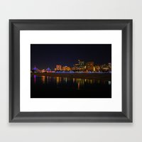 Zakim Bridge At Night  Framed Art Print