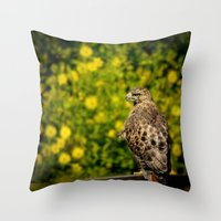 Hawk in sunflowers Throw Pillow