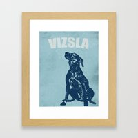 Vizsla Dog In Floral Des… Framed Art Print