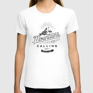 Mountains Womens Fitted Tee White MEDIUM