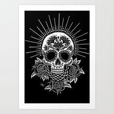 Sugar Skull Black Art Print