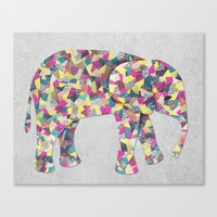 Elephant Collage in Gray Hot Pink Teal and Yellow Canvas Print