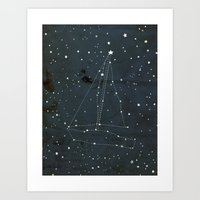 Constellation Sail Boat Art Print