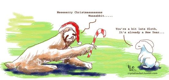 Sloth Christmas Art Print