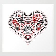 83 Drops - Hearts (Red & Black) Art Print