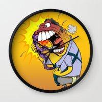 Wall Clock featuring Jerky Moe by BinaryGod.com