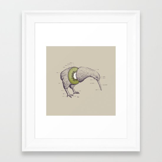 Kiwi Anatomy Framed Art Print