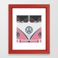 Pink Love Bus Redux Framed Art Print