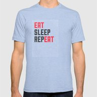 EAT SLEEP REPEAT Mens Fitted Tee Tri-Blue SMALL