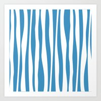 Blue and White Zebra Print Art Print