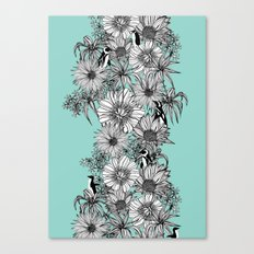 Penguins & Flowers Canvas Print