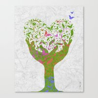 Butterfly Love Tree Canvas Print