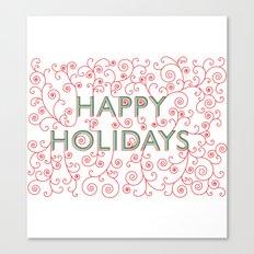 Happy Holidays Swirlies Canvas Print