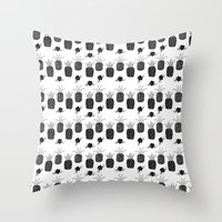 Pineapples - Black and White Throw Pillow