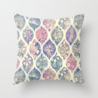 Patterned & Painted Flor… Throw Pillow