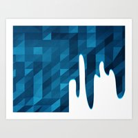 Polygon Drip Blue Art Print