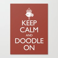 Keep Calm & Doodle On (Red) Canvas Print
