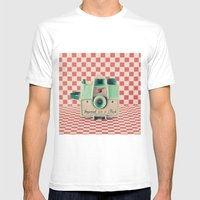 Mint Retro Camera on Red Chequered Background  Mens Fitted Tee White SMALL