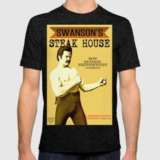 Ron Swanson  |  Steak House Parody |  Parks and Recreation Mens Fitted Tee Tri-Black SMALL
